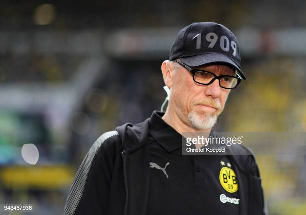 Head coach Peter Stoeger of Dortmund is seen prior to the Bundesliga match between Borussia Dortmund and VfB Stuttgart at Signal Iduna Park on April...