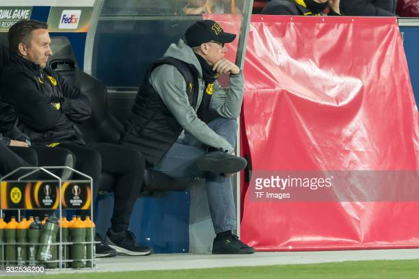 Head coach Peter Stoeger of Dortmund looks on during UEFA Europa League Round of 16 second leg match between FC Red Bull Salzburg and Borussia...