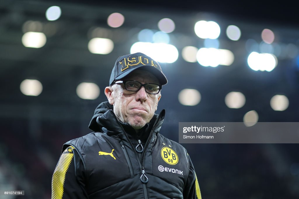 Head coach Peter Stoeger of Dortmund looks on prior the Bundesliga match between 1. FSV Mainz 05 and Borussia Dortmund at Opel Arena on December 12, 2017 in Mainz, Germany.