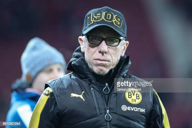 Head coach Peter Stoeger of Dortmund looks on prior the Bundesliga match between 1 FSV Mainz 05 and Borussia Dortmund at Opel Arena on December 12...