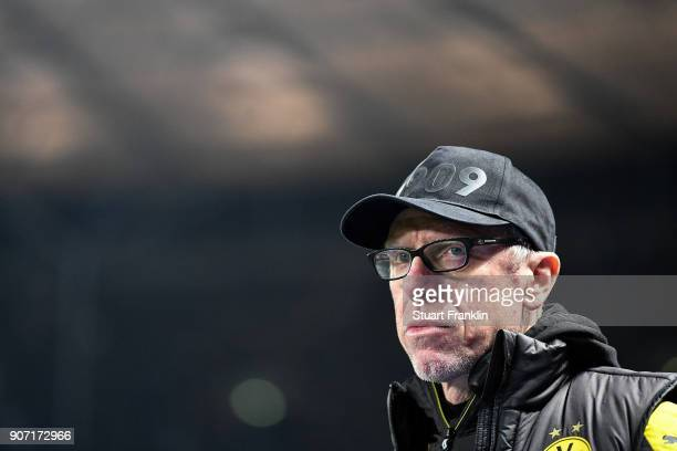 Head coach Peter Stoeger of Dortmund looks on prior the Bundesliga match between Hertha BSC and Borussia Dortmund at Olympiastadion on January 19...