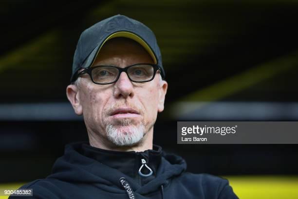 Head coach Peter Stoeger of Dortmund looks on prior to the Bundesliga match between Borussia Dortmund and Eintracht Frankfurt at Signal Iduna Park on...