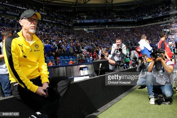 Head coach Peter Stoeger of Dortmund looks on prior to the Bundesliga match between FC Schalke 04 and Borussia Dortmund at VeltinsArena on April 15...