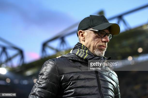 Head coach Peter Stoeger of Dortmund looks on prior to the UEFA Europa League Round of 16 match between Borussia Dortmund and FC Red Bull Salzburg at...
