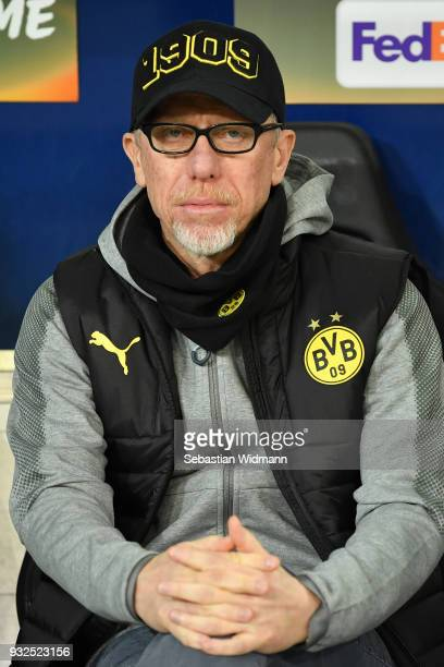 Head coach Peter Stoeger of Dortmund looks on prior to the UEFA Europa League Round of 16 2nd leg match between FC Red Bull Salzburg and Borussia...