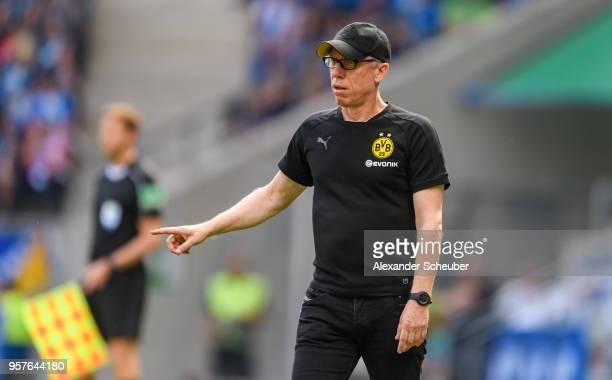 Head coach Peter Stoeger of Dortmund reacts during the Bundesliga match between TSG 1899 Hoffenheim and Borussia Dortmund at Wirsol...