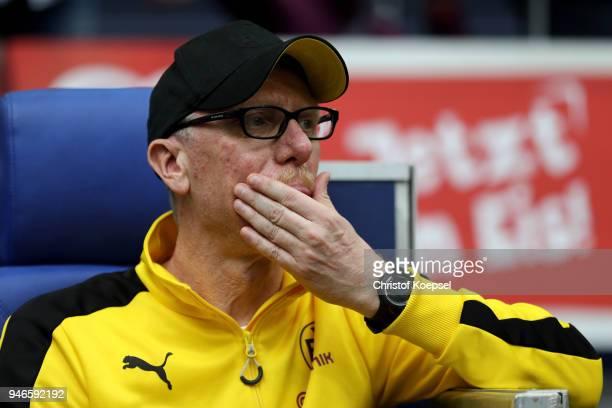 Head coach Peter Stoeger of Dortmund sits on the bench during the Bundesliga match between FC Schalke 04 and Borussia Dortmund at VeltinsArena on...