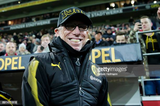 Head coach Peter Stoeger of Dortmund smiles prior to the Bundesliga match between 1 FSV Mainz 05 and Borussia Dortmund at Opel Arena on December 12...