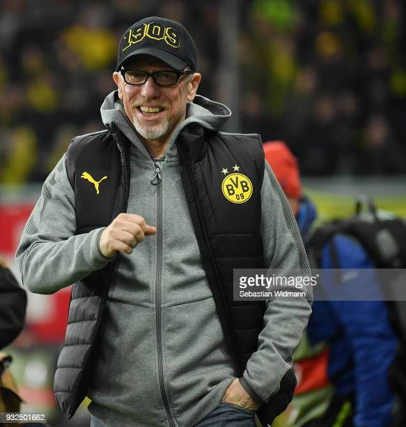 Head coach Peter Stoeger of Dortmund smiles prior to the UEFA Europa League Round of 16 2nd leg match between FC Red Bull Salzburg and Borussia...