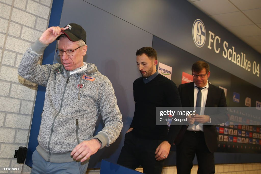 Head coach Peter Stoeger of Koeln is seen after thew press conference of the Bundesliga match between FC Schalke 04 and 1. FC Koeln at Veltins-Arena on December 2, 2017 in Gelsenkirchen, Germany.