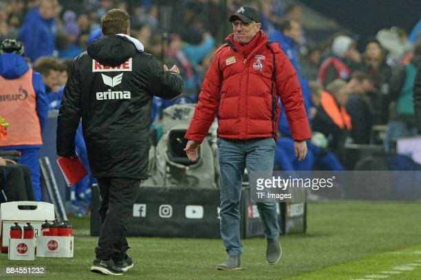 Head coach Peter Stoeger of Koeln looks on after the Bundesliga match between FC Schalke 04 and 1 FC Koeln Bundesliga at VeltinsArena on December 2...