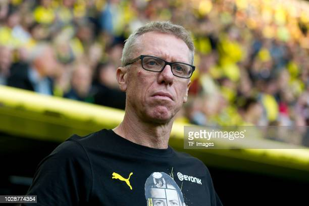 Head coach Peter Stoeger of Roman and Friends looks on during the Roman Weidenfeller Farewell Match between BVB Allstars and Roman and Friends at...