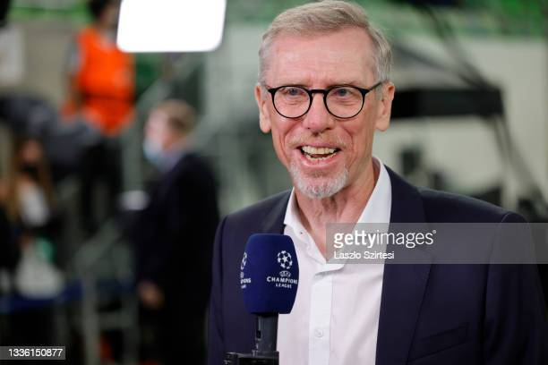 Head coach Peter Stoger of Ferencvarosi TC is interviewed prior to the UEFA Champions League Play-Offs Leg Two match between Ferencvarosi TC and BSC...