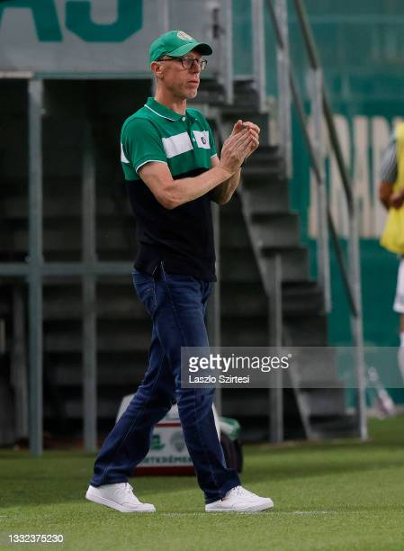 Head coach Peter Stoger of Ferencvarosi TC reacts during the UEFA Champions League Third Qualifying Round 1st Leg match between Ferencvarosi TC and...