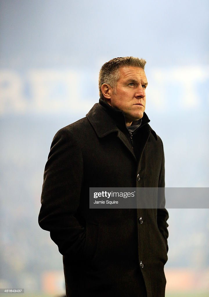 Head coach Peter Vermes of Sporting KC watches from the sidelines warm-ups prior to Leg 2 of the Eastern Conference Championship against the Houston Dynamo at Sporting Park on November 23, 2013 in Kansas City, Kansas.