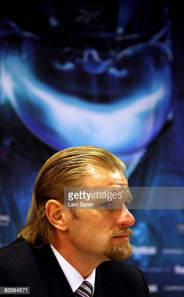 Head coach Petri Matikainen of Espoo is seen during a press conference after the IIHF Champions Hockey League match between SC Bern and Espoo Blues...
