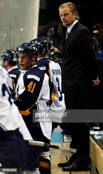 Head coach Petri Matikainen of Espoo is seen during the IIHF Champions Hockey League match between SC Bern and Espoo Blues at the PostFinance Arena...