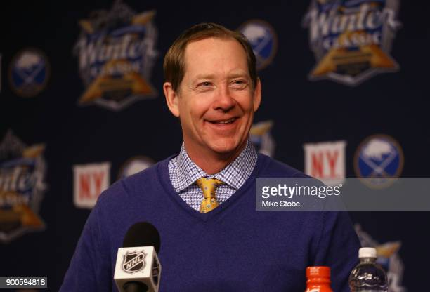 Head Coach Phil Housley of the Buffalo Sabres speaks to the media after the 2018 Bridgestone NHL Winter Classic between the New York Rangers and the...