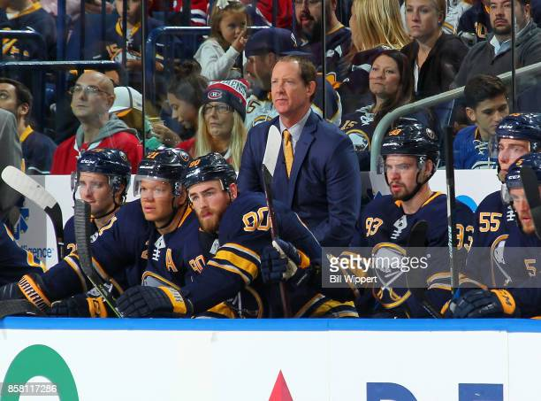 Head coach Phil Housley of the Buffalo Sabres watches the action during an NHL game against the Montreal Canadiens on October 5 2017 at KeyBank...