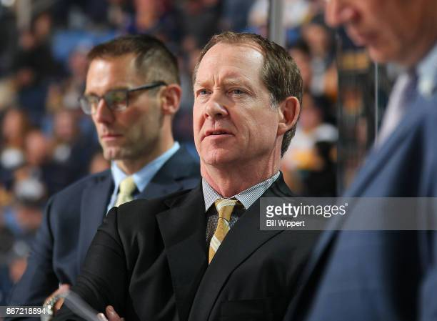 Head coach Phil Housley of the Buffalo Sabres watches the action during an NHL game against the Vancouver Canucks on October 20 2017 at KeyBank...