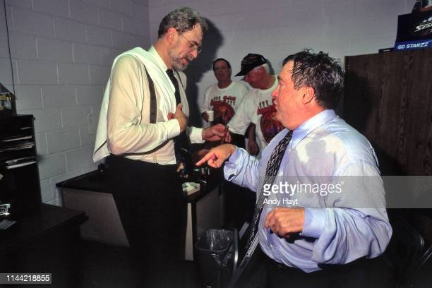 Head Coach Phil Jackson and General Manager Jerry Krause of the Chicago Bulls celebrate after Game Six of the 1998 NBA Finals against the Utah Jazz...