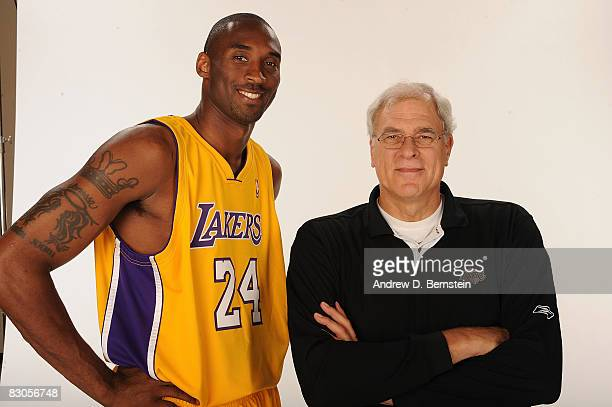 Head Coach Phil Jackson and Kobe Bryant of the Los Angeles Lakers pose for a portrait during NBA Media Day on September 29 2008 at the Toyota Sports...
