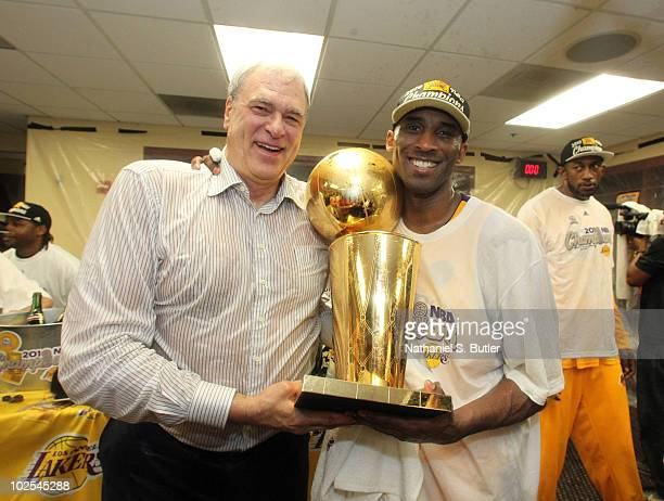 Head Coach Phil Jackson and Kobe Bryant of the Los Angeles Lakers celebrates in the locker room after Game Seven of the 2010 NBA Finals on June 17...