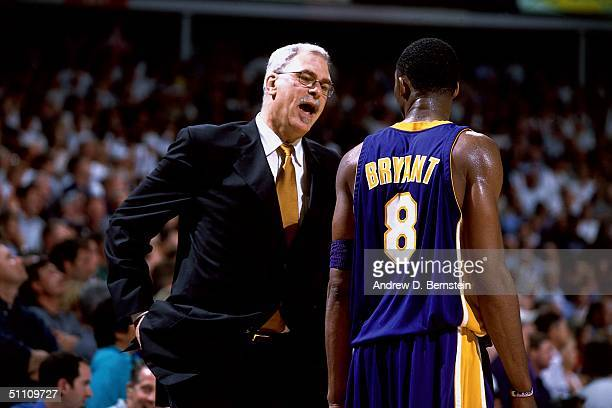 Head Coach Phil Jackson has a few words for Kobe Bryant of the Los Angeles Lakers circa 2004 NOTE TO USER User expressly acknowledges and agrees that...