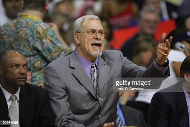 Head Coach Phil Jackson of the Los Angeles Lakers coaches against the Detroit Pistons in Game five of the 2004 NBA Finals on June 15, 2004 at The...