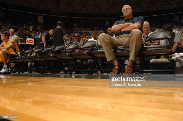 Head coach Phil Jackson of the Los Angeles Lakers looks o from the match against the Golden State Warriors during a preseason game October 11, 2005...