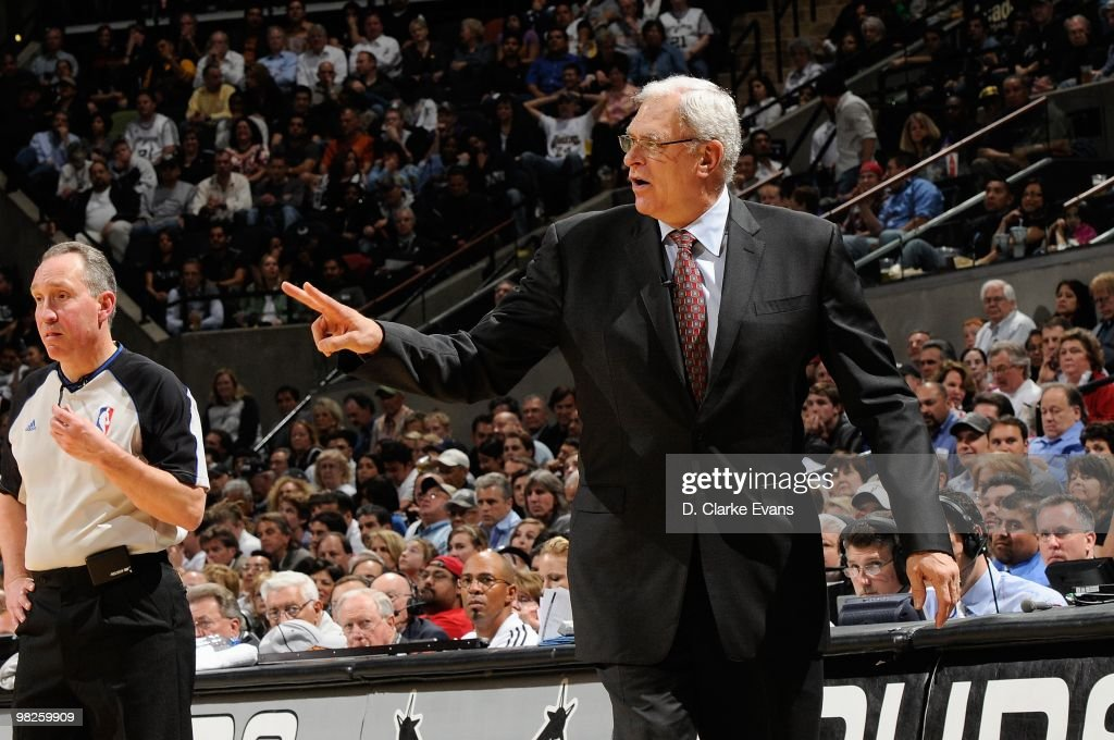 Head coach Phil Jackson of the Los Angeles Lakers shouts from the sideline during the game against the San Antonio Spurs on March 24, 2010 at the AT&T Center in San Antonio, Texas. The Lakers won 92-83.