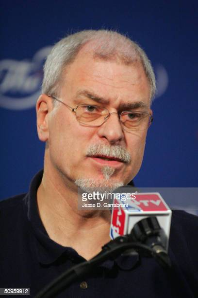 Head coach Phil Jackson of the Los Angeles Lakers speaks to the media during media availability the day after Game four of the NBA Finals on June 14,...
