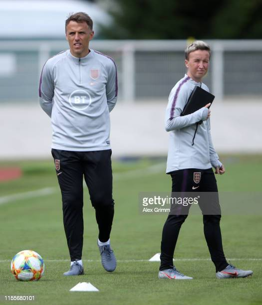 Head coach Phil Neville and asisstant coach Bev Priestman look on during an England training session during the 2019 FIFA Women's World Cup France at...