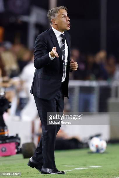 Head coach Phil Neville of Inter Miami CF reacts against the FC Cincinnati during the first half at DRV PNK Stadium on October 23, 2021 in Fort...