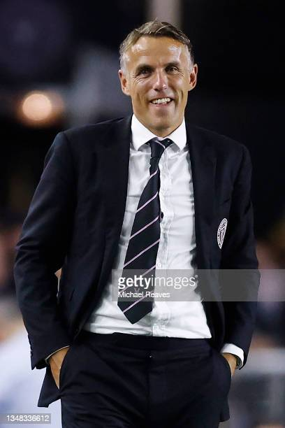 Head coach Phil Neville of Inter Miami CF reacts against the FC Cincinnati during the second half at DRV PNK Stadium on October 23, 2021 in Fort...