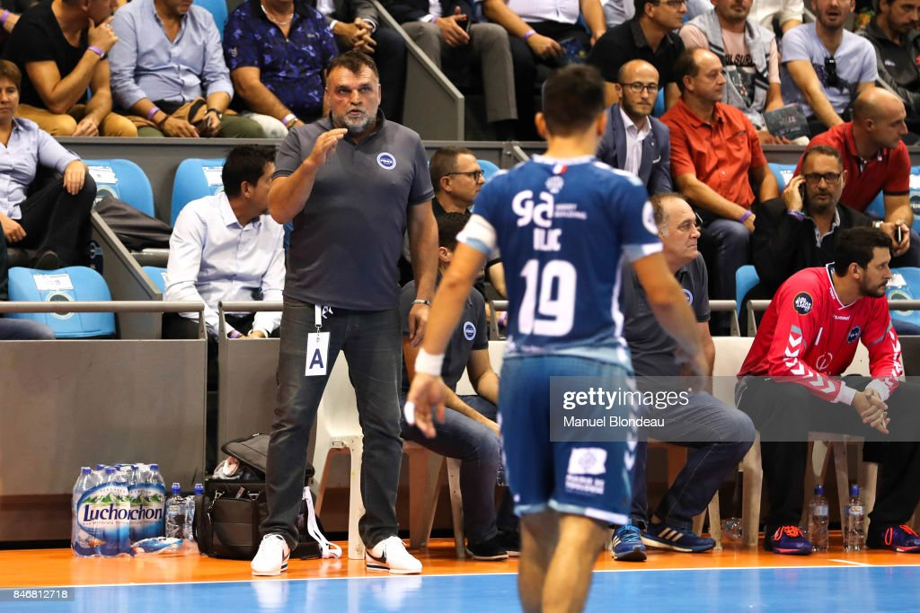 Head coach Philippe Gardent of Toulouse during Lidl Star Ligue match between Fenix Toulouse and Pays D'aix Universite Club on September 13, 2017 in Toulouse, France.
