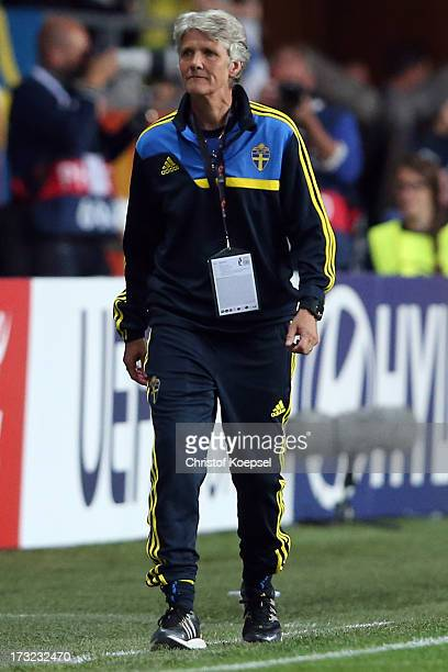 Head coach Pia Sundhage of Sweden looks dejected after the UEFA Women's EURO 2013 Group A match between Sweden and Denmark at Gamla Ullevi Stadium on...