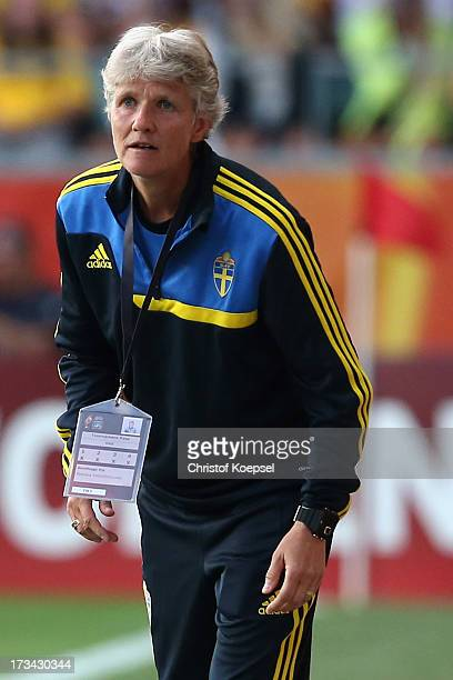 Head coach Pia Sundhage of Sweden looks on during the UEFA Women's EURO 2013 Group A match between Finland and Sweden at Gamla Ullevi Stadium on July...