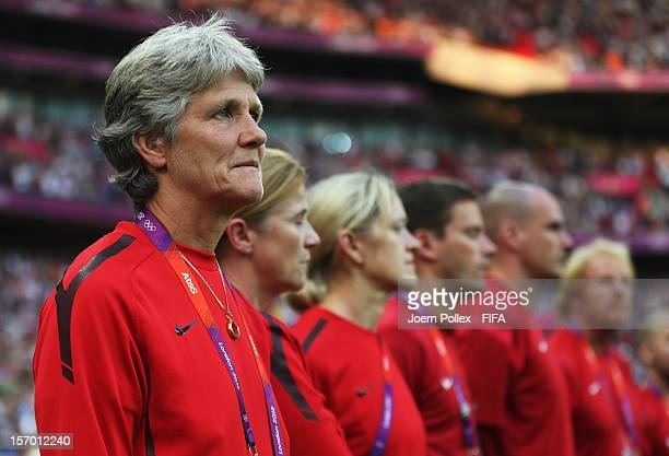 Head coach Pia Sundhage of USA is pictured prior to the Women's Football Final match between the USA and Japan on Day 13 of the London 2012 Olympic...
