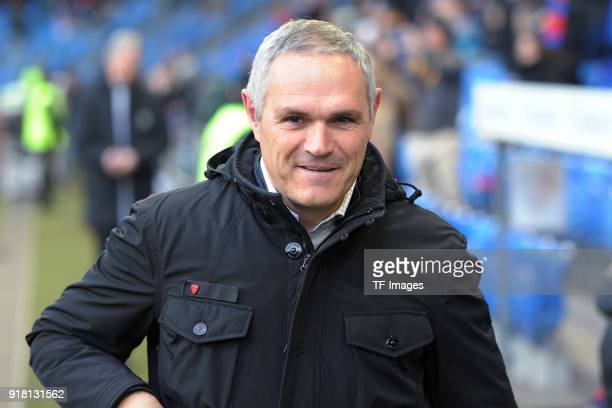 Head coach Pierluigi Tami of Lugano looks on during the Raiffeisen Super League match between FC Basel and FC Lugano at St Jakob Park on February 4...