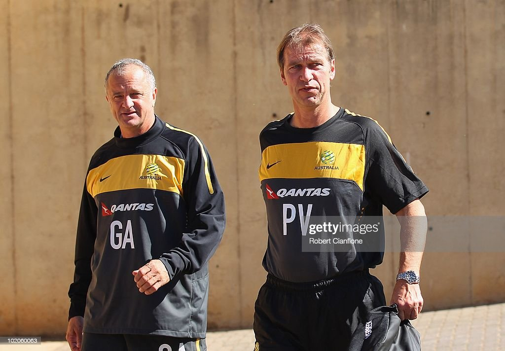 Head coach Pim Verbeek (R) of Australia arrives with assistant coach Graham Arnold during an Australian Socceroos training session at Ruimsig Stadium on June 14, 2010 in Roodepoort, South Africa.