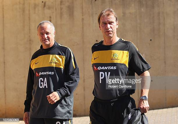 Head coach Pim Verbeek of Australia arrives with assistant coach Graham Arnold during an Australian Socceroos training session at Ruimsig Stadium on...