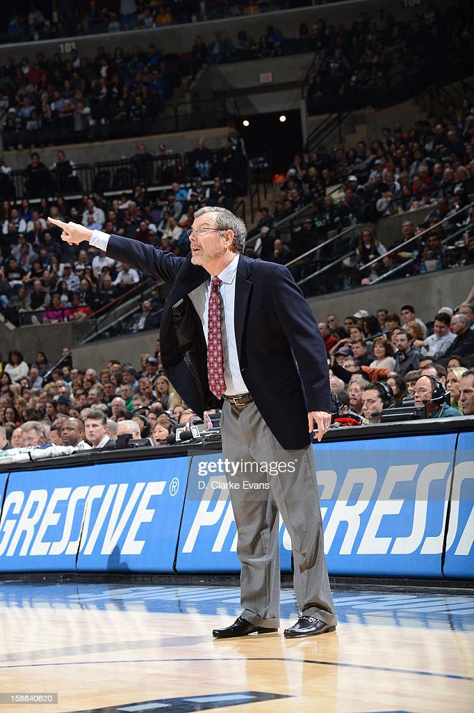 Head Coach P.J. Carlesimo of the Brooklyn Nets gives direction against the San Antonio Spurs on December 31, 2012 at the AT&T Center in San Antonio, Texas.