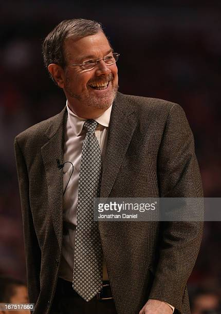 Head coach PJ Carlesimo of the Brooklyn Nets smiles as the Nets take on the Chicago Bulls in Game Three of the Eastern Conference Quarterfinals...