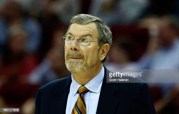 Head coach PJ Carlesimo of the Brooklyn Nets waits on the court during the game against the Houston Rockets at Toyota Center on January 26 2013 in...