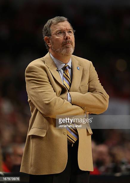 Head coach PJ Carlesimo of the Brooklyn Nets watches as his team take on the Chicago Bulls in Game Six of the Eastern Conference Quarterfinals during...