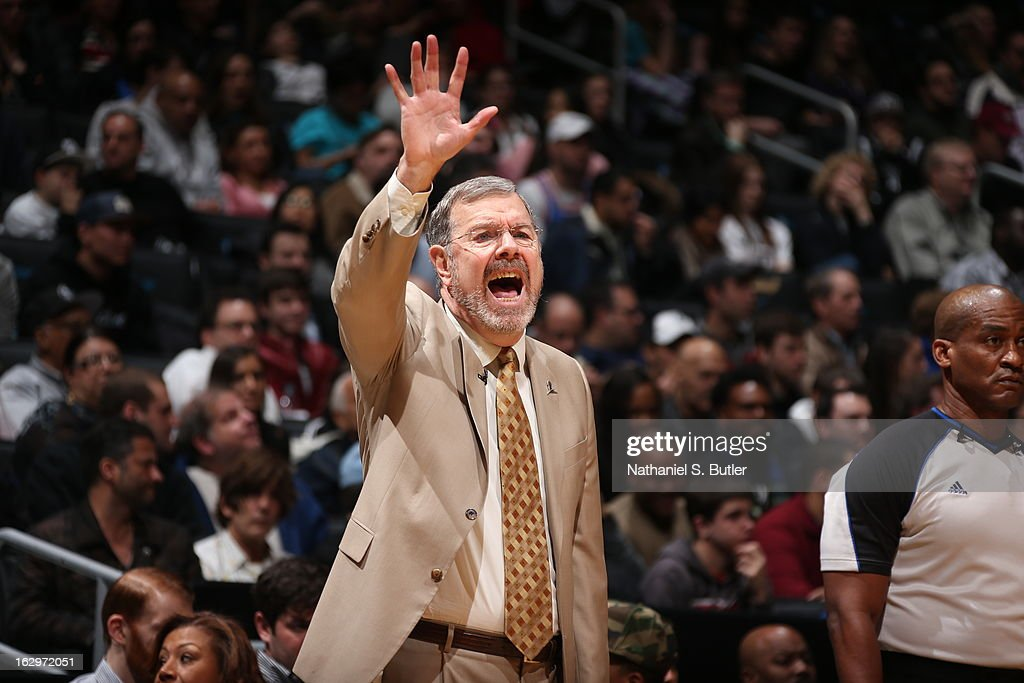 Head Coach P.J. Carlesimo of the Brooklyn Nets yells out to his players against the Memphis Grizzlies on February 24, 2013 at the Barclays Center in the Brooklyn borough of New York City.