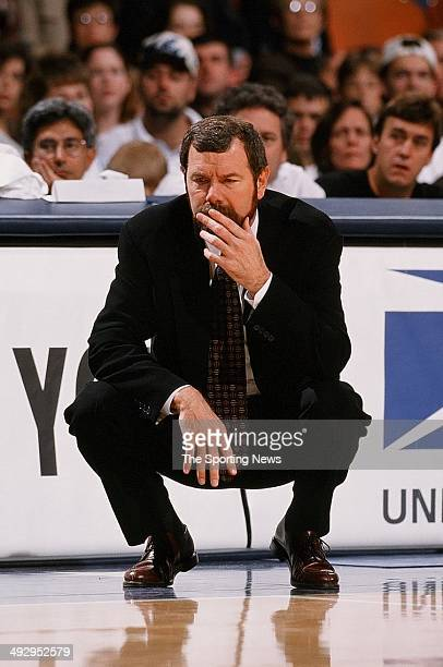 Head coach PJ Carlesimo of the Golden State Warriors on the sideline during the game against the Houston Rockets during the game on November 22 1997...