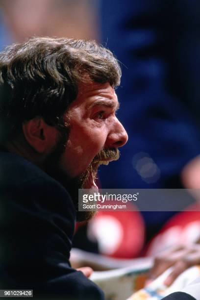 Head Coach PJ Carlesimo of the Portland Trail Blazers reacts to a play during the game against the Chicago Bulls on November 11 1995 at the United...