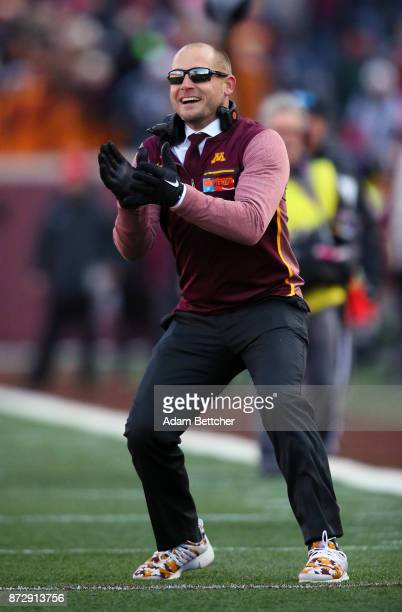 Head coach PJ Fleck of the Minnesota Golden Gophers celebrates a touchdown on the sidelines during the second quarter against the Nebraska...